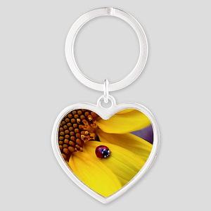 Ladybug on Sunflower Petal Heart Keychain