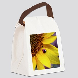Ladybug on Sunflower Petal Canvas Lunch Bag