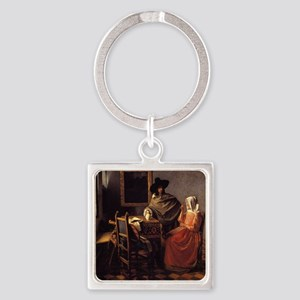 The Glass of Wine Square Keychain