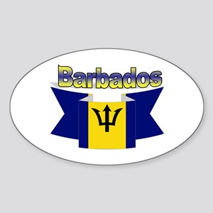 The Barbados flag ribbon Oval Sticker