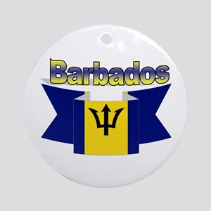 The Barbados flag ribbon Ornament (Round)