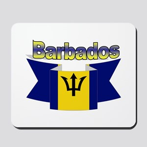 The Barbados flag ribbon Mousepad