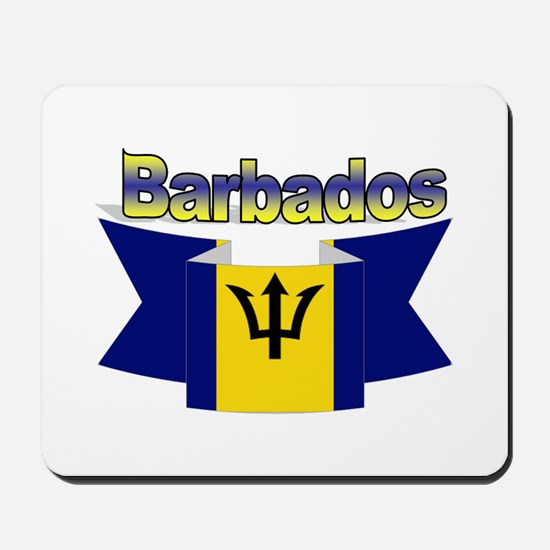 The Barbados flag ribbon Mousepad