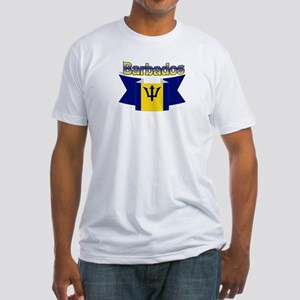 The Barbados flag ribbon Fitted T-Shirt