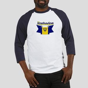 The Barbados flag ribbon Baseball Jersey