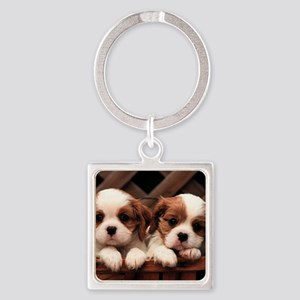 puppies toilettry bag Square Keychain