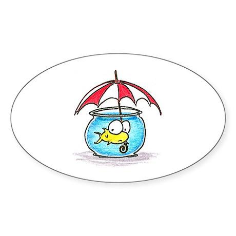 fish and umbrella Oval Sticker