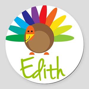 Edith-the-turkey Round Car Magnet