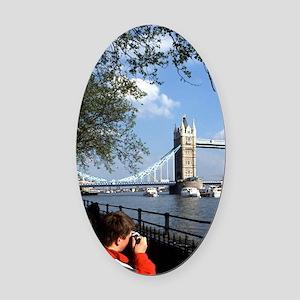Tourists at Famous Tower Bridge ov Oval Car Magnet