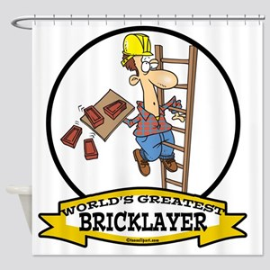 WORLDS GREATEST BRICKLAYER CARTOON Shower Curtain
