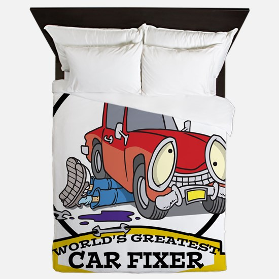 WORLDS GREATEST CAR FIXER CARTOON Queen Duvet