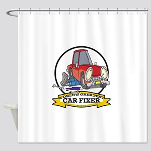 WORLDS GREATEST CAR FIXER CARTOON Shower Curtain