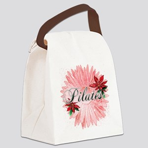 pilates pink snow christmas flowe Canvas Lunch Bag