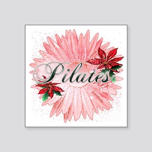 "pilates pink snow christmas Square Sticker 3"" x 3"""