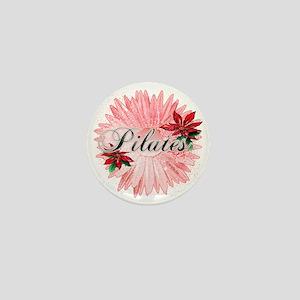 pilates pink snow christmas flower cop Mini Button