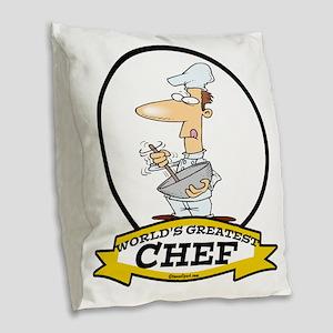 WORLDS GREATEST CHEF CARTOON Burlap Throw Pillow