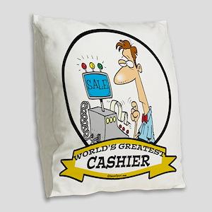 WORLDS GREATEST CASHIER MALE C Burlap Throw Pillow