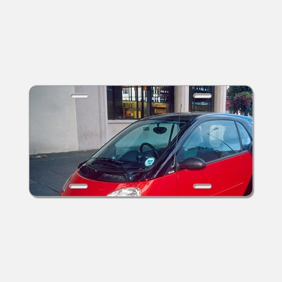 Smart cars on London street Aluminum License Plate