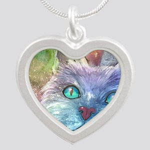 Blue Cat larger Silver Heart Necklace