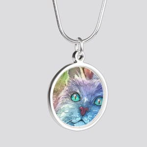 Blue Cat larger Silver Round Necklace