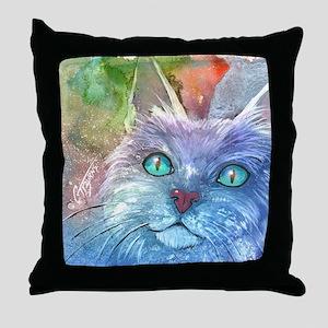 Blue Cat larger Throw Pillow