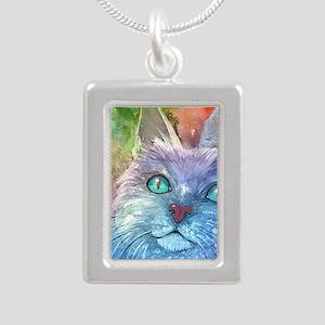Blue Cat larger Silver Portrait Necklace