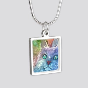 Blue Cat larger Silver Square Necklace
