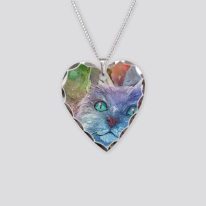 Blue Cat larger Necklace Heart Charm