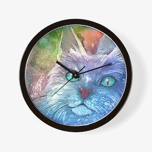 Blue Cat larger Wall Clock