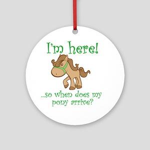 PonyArrive_Green Round Ornament