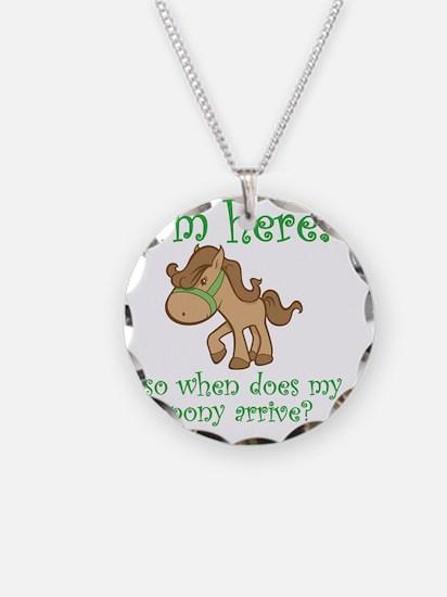PonyArrive_Green Necklace Circle Charm