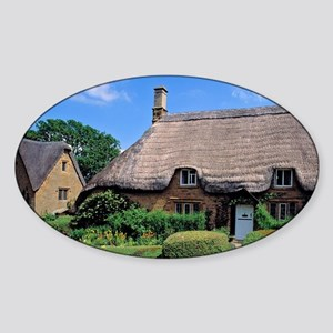 Is filled with thatched-roofed cott Sticker (Oval)