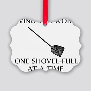 one shovel full at a time tran Picture Ornament