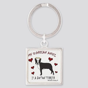 BostonTerrierBlk Square Keychain