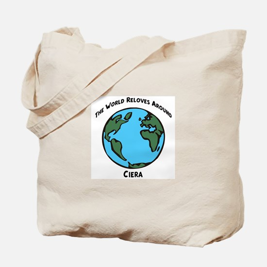 Revolves around Ciera Tote Bag