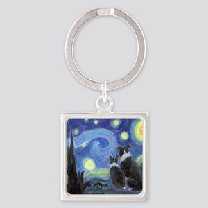 Starry Night for tile coaster Square Keychain