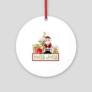 Holly Jolly copy Round Ornament