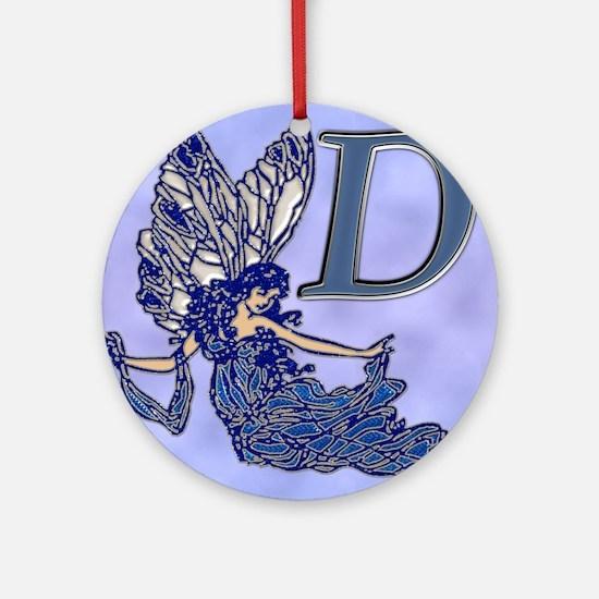 Blue Fairy Monogram BD Round Ornament