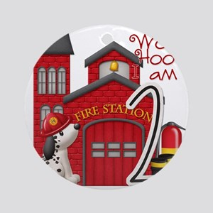 Firetruck-2ndbday copy Round Ornament