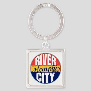 Memphis Vintage Label W Square Keychain