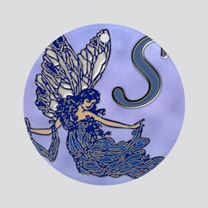 Blue Fairy Monogram BS Round Ornament