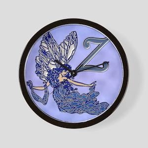 Blue Fairy Monogram BZ Wall Clock