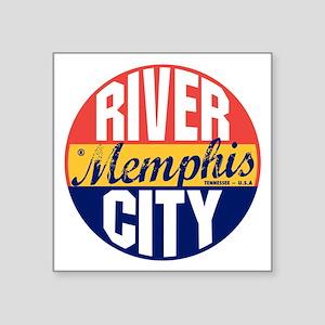 """Memphis Vintage Label B Square Sticker 3"""" x 3"""""""
