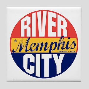 Memphis Vintage Label B Tile Coaster