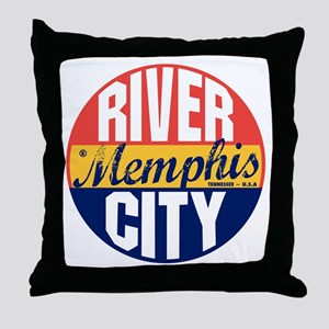 Memphis Vintage Label B Throw Pillow