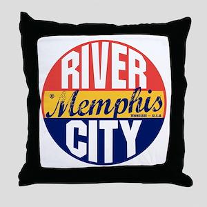 Memphis Vintage Label B Throw Pillow