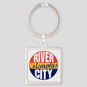 Memphis Vintage Label B Square Keychain
