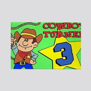 Cowboy Turned 3 Puzzle Rectangle Magnet