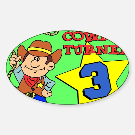 Cowboy Turned 3 Puzzle Sticker (Oval)