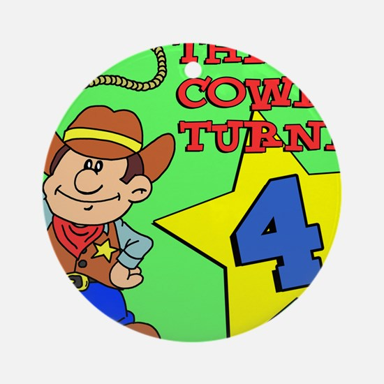 Little Cowboy Turned 4 Puzzle Round Ornament